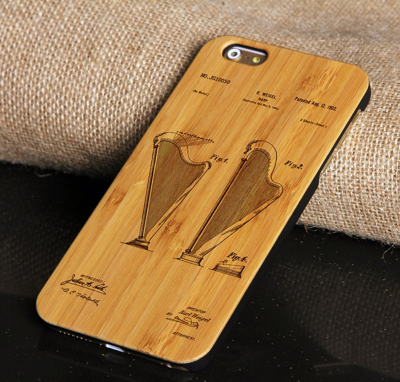 newest collection c610d 096dd Harp Pattern - Wood Cell Phone Case Cover Engraved for iPhone 6/6s  6plus/6splus 7/8 7plus/8plus PC Wooden Bamboo Phone Protection Shell