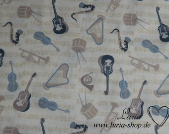 Painted Vintage ViolinFabric Cushion Upholstery Craft Quilting Panel Violin