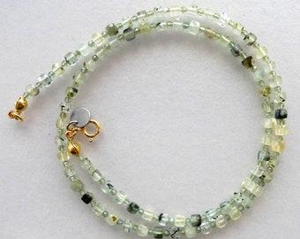 Prehnite Peridot Rainbow Moonstone Green Amethyst Long Semiprecious Green Beaded Gemstone Necklace in Gold Vermeil with Phantom Quartz