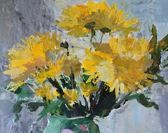 "Evgenia Osmani original acrylic painting ""Yellow Chrysantemums"""