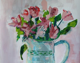 "Evgenia Osmani acrylic painting ""Roses in a Jug"" still life"