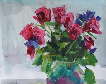 "Evgenia Osmani acrylic painting ""Roses"" still life"