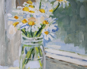 """Wall decor original fine art """"Daisies By The Window"""" 9x12 inches"""