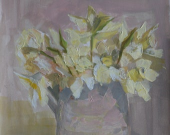"""Home Decor Wall Art Original Acrylic Painting on Canvas Paper """"White and Yellow Daffodils """" A3 or 29.7 x 42.0 cm"""