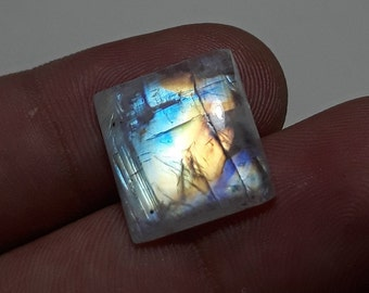 5 Pcs Natural Rainbow Moonstone Cabochons Square Shape Loose Moonstone 6X6mm Making For Jewelry