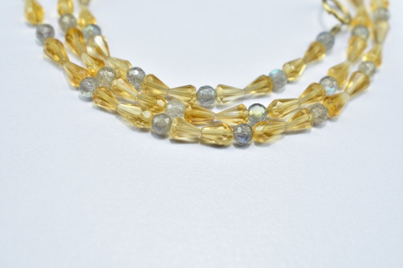 Best Quality Citrine Top Drill Drops 3.5X4.5mm to 3.5X6mm and Labradorite Round Ball 3.25mm Gemstone Beads 17/'/' Inch Strand