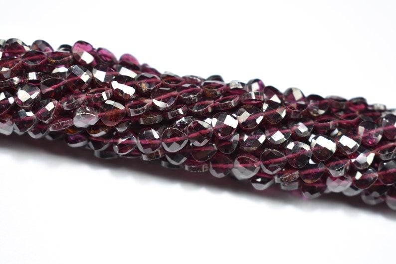 Natural Garnet Well Cut Heart Shape Gemstone Faceted Beads 13 inch 1 Strand 5X5mm