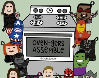 Marvel Oven-gers Digital Download-Marvel Print-Avengers Assemble-Avengers Print-Marvel Gift-Unique Marvel Gift-Marvel Poster-Marvel Funny