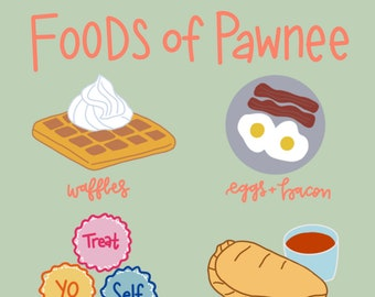 Foods of Pawnee Digital Download-Pawnee, Indiana-Leslie Knope-Parks and Rec-Parks and Rec Gift-Parks and Rec Fan-Ron Swanson-Treat Yo Self