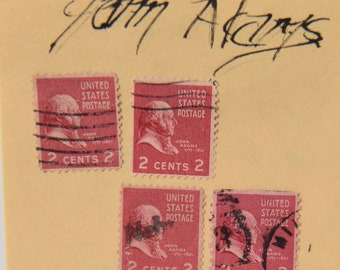 US 1930 John Adams Set Of 8 Scott 841 806 Rose Carmine 2 Cent Fancy Postmarked Stamps