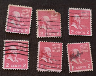 United States 1938 John Adams 2 Cent Scott 806 Fancy Postmarked Lot Of 6 Stamps Very Good Protective Sleeve
