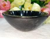 Black Tourmaline Stone Natural Gemstone Hand Carved Bowl 3 Inch Reiki Healing Balancing Energy, Devotional Focus Spiritual Chakra Stone