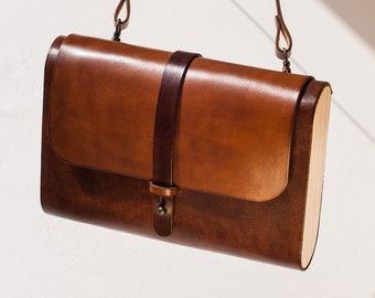 829a0e9be4adc Brown leather handbag, classic brown women bag, natural leather and wood  minimal bag, leather walnut crossbody, women brown handbag