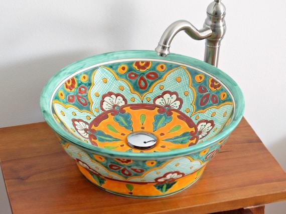 Verano Stunning Mexican Handpainted Vessel Sink 42 Cm Round Etsy