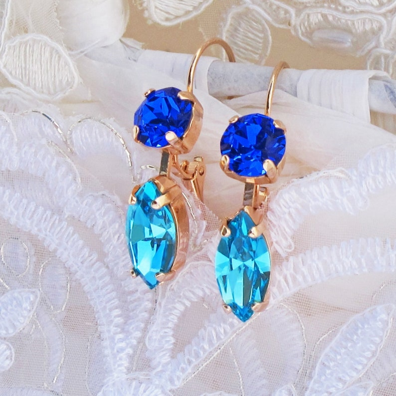 ae357f70513db5 Marquise Majestic Blue Crystal Drop Earrings With   Etsy
