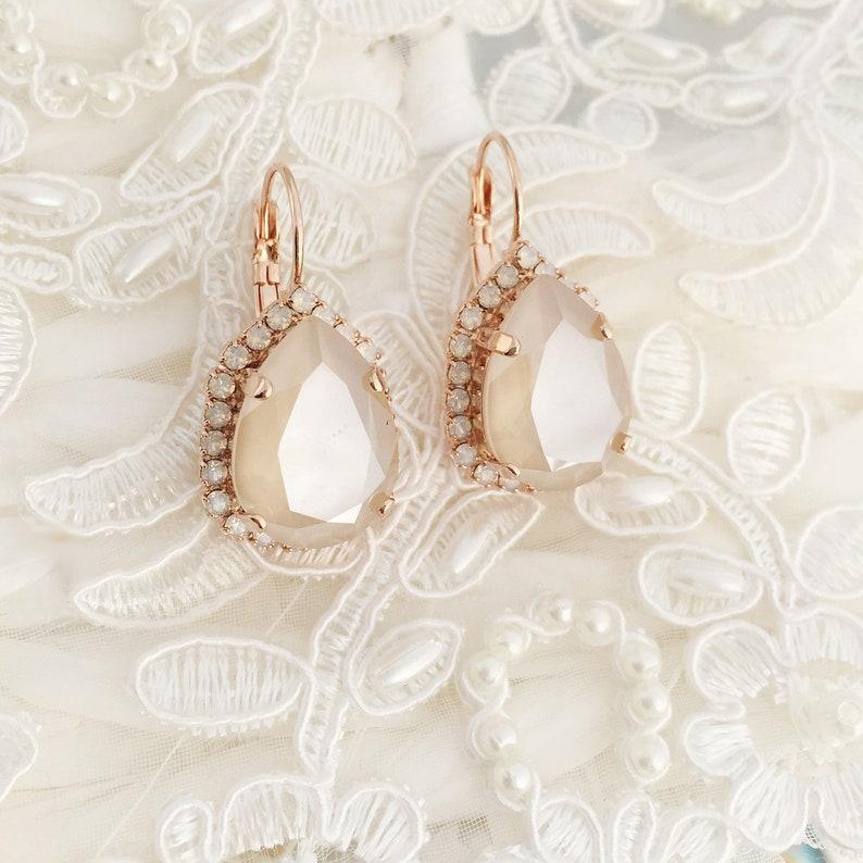 400e1ce43b3467 Ivory Cream Opal Swarovski Teardrop Earrings Bride Bridal   Etsy