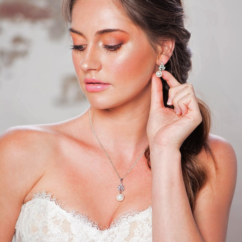 Bridal Wedding CZ Stud Earring Necklace Leaf Set Silver Clear Crystal  Floral Gift Boxed Accessory Bride Prom Cobic Zirconia