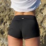 "Mid shorts for workouts & yoga - ""Cheeky"" Black, Blue, Khaki"