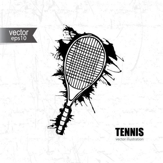 Racket Svg Svg Grunge Abstract Tennis Sport Hand Drawing Etsy