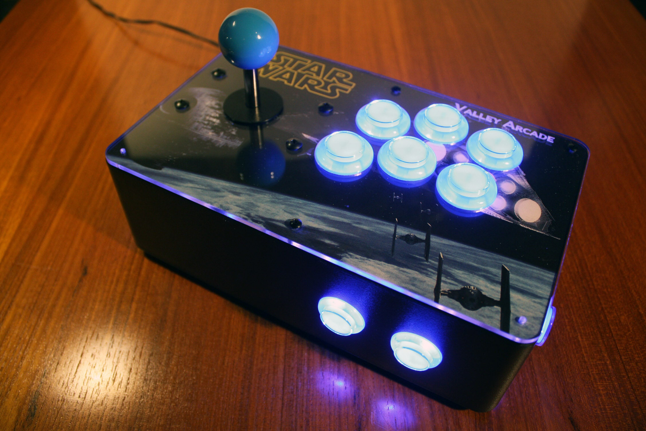 Venture Retrocade: a RetroPie home arcade console with lighted LED controls  (Star Wars theme)