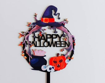 Happy Halloween Cake Topper, Acrylic cake topper, Halloween Party, Halloween Cake, Trick or Treat Cake Topper