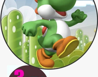 "YOSHI AND MARIO ROUND 7.5/"" CAKE TOPPER ICING OR RICEPAPER"