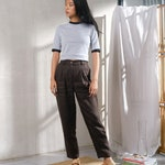 High Waisted Linen Pants/ Minimal Dark Brown Tapered Trousers/ Preppy Pleated Aesthetic Clothing