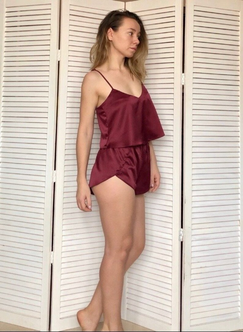 dde4a3f81a3 Sexy pajamas silk sleepwear satin pajamas women pajama set