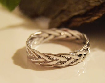 Engagement rings,Viking ring 10k,Celtic eternity ring,Popular ASGARD ring,Viking braided knot ring, Braided rings 10kt,White gold rings.