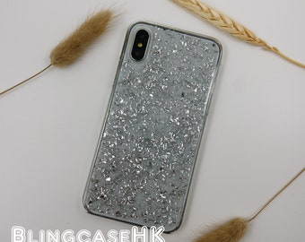 Silver leaf Flakes Glitter Sparkle Handmade Clear Protective Case Cover for  iPhone Samsung e4f2eece84