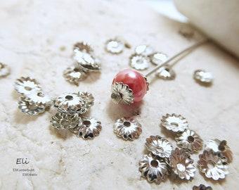 50 filigrane Perlkappen Perlenkappen 13 x 8 mm gold Spacer Schmuck  V123