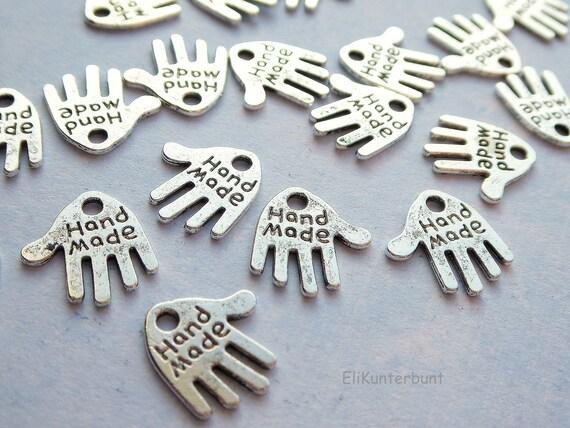 """20 kleine Herzen /""""Hand Made/"""" antik Bronze"""