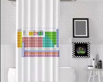 CUSTOM Periodic Table Of Elements Shower Curtain 62 Inches X 72 Science Chemistry STEM Graduate Gifts