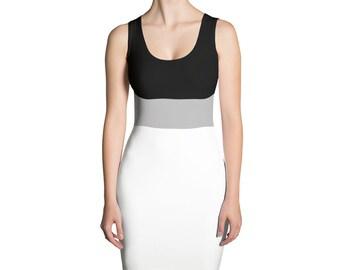 15b330e385eee1 Moderne zwarte wit   grijs Fashion jurk