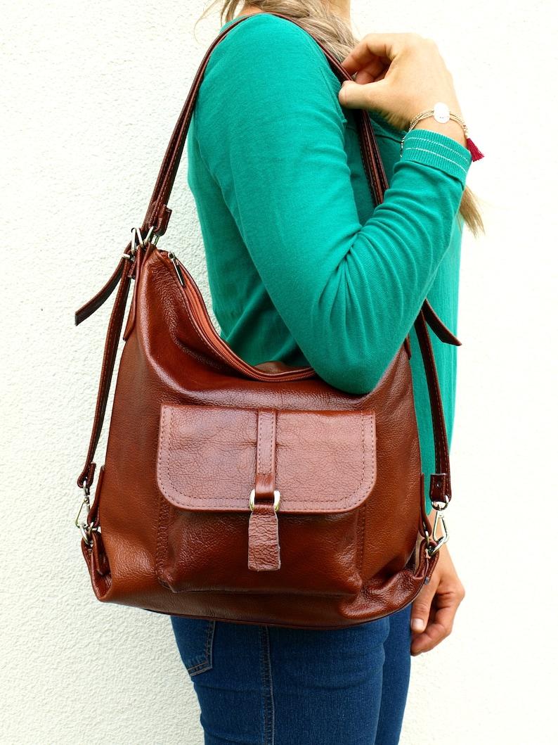 Leather Shoulder Bag Cognac Leather Purse Bag Cognac Women/'s handbag leather backpack, Brown Leather Backpack Leather bag