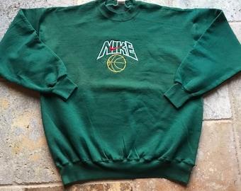 52746d458 Vintage Nike Embroidered Basketball Crewneck 90s bootleg