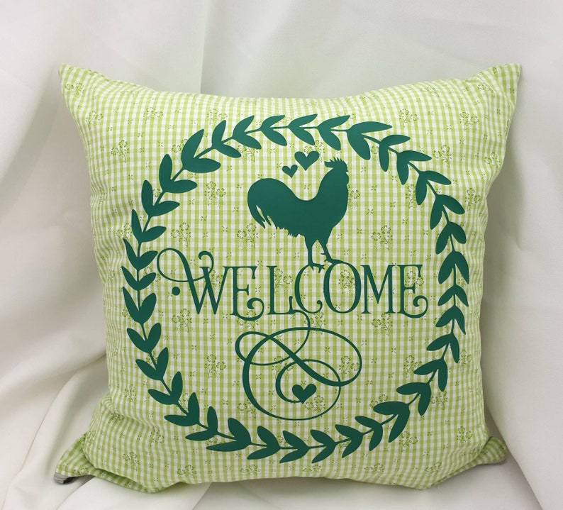 Case Shabby Chic Country.Pillow Case Shabby Chic Country House Vintage Welcome Rooster Green Mother S Day Gift With Zipper 40 X40 Cm