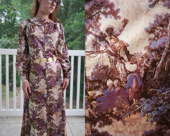 70s Novelty Print Disco Dress