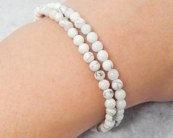 Stretch Bracelet Stack Gemstone Bracelet Howlite Bracelet Natural Palm Wood Bracelet Diffuser Bracelet Boho Bracelet