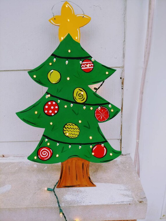 Led Christmas Tree Lights.Lighted Christmas Tree Door Hanger Ornaments Lights Brights Light Up Star