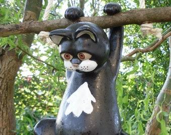 Cat in ceramic black, hanging, frostproof, unique