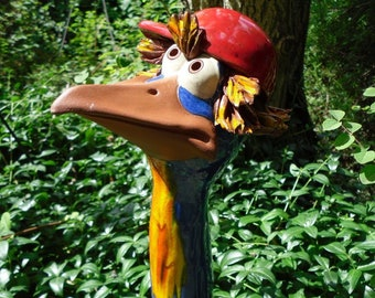 Hedgerow bird XL in ceramic blue, frostproof, unique, (G) red basecap and hair, garden decoration