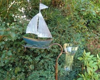 Garden plug rain knife sailboat made of metal, with glass insert, garden plug, ship boat
