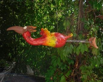 Flying bird red ceramic, frostproof, unique, garden decoration