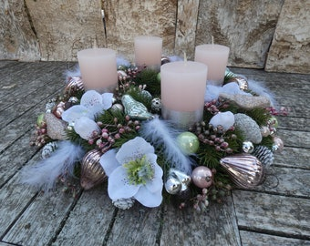 Large Advent wreath unique, Ø 43 cm, 4 candles Handmade Glass birds Glass hearts
