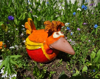 Chicken Hildegard made of ceramic large, red standing hair, frost proof, unique, garden decoration