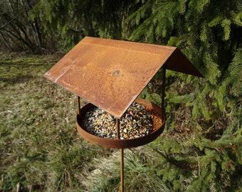 Garden plug Bird feed house made of metal, rust, food, bird, winter, feeding house