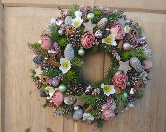 Door wreath Christmas 45 cm (G) high-quality decorative parts Roses Christmas roses cones