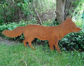 Garden plug fox made of metal, rust, stainless steel garden decoration