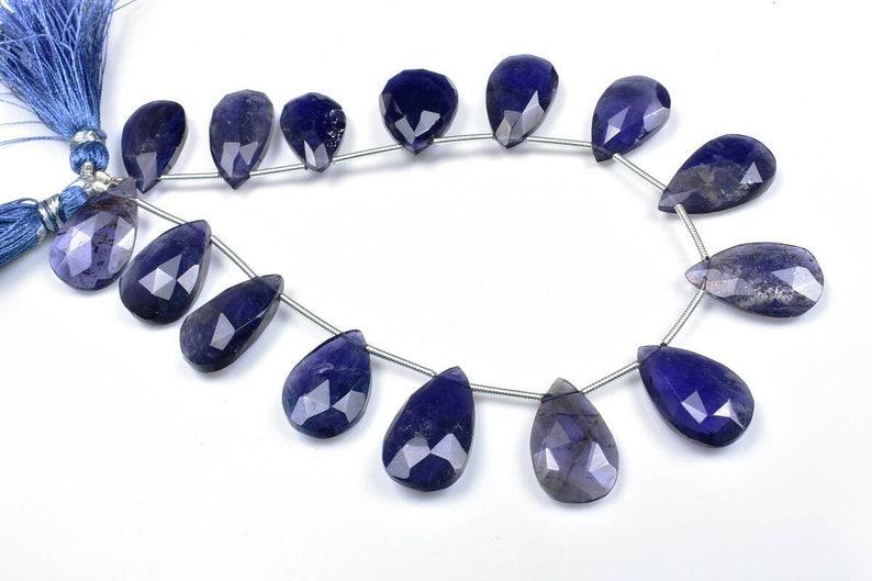 11\u00d716.50-12\u00d720mm 8Strand.#b349 Natural Iolite Faceted Pear shape Briolette Beads